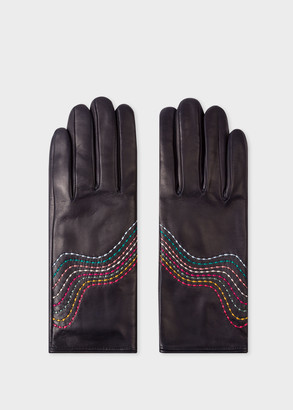 Paul Smith Women's Navy Leather Gloves With 'Swirl' Stitching Details
