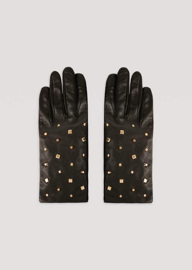 Emporio Armani Leather Gloves With Decorative Stud Details