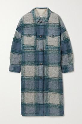 Etoile Isabel Marant Gabrion Oversized Checked Brushed Wool-blend Felt Coat - Blue