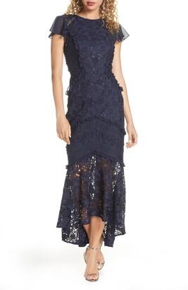 Chi Chi London Crochet & Lace Flounce Sleeve Dress