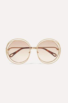 Chloé Oversized Round-frame Gold-tone Sunglasses - Beige