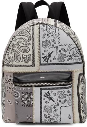 Amiri Grey and Off-White Bandana Reconstruction Classic Backpack
