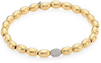 Sydney Evan 14K Yellow Gold, White Gold & Diamond Pave Ball Beaded Bracelet