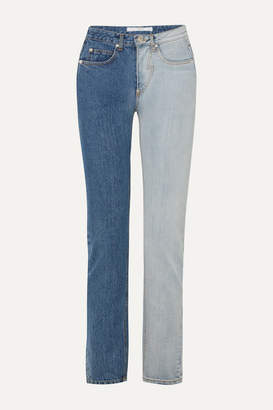 Pushbutton - Two-tone High-rise Straight-leg Jeans - Mid denim