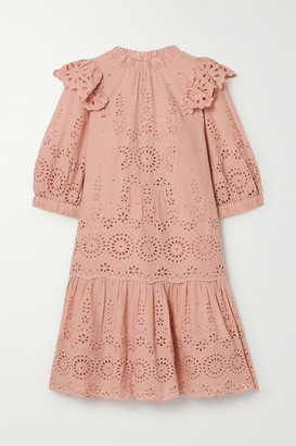 Sea Daisy Ruffled Broderie Anglaise Cotton Mini Dress - Blush