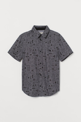 H&M Short-sleeved Cotton Shirt - Gray