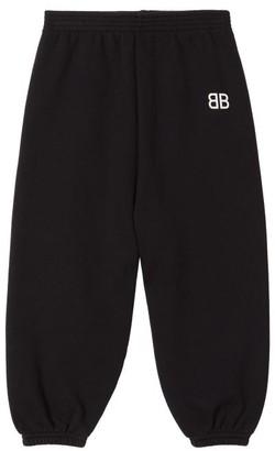 Balenciaga Kids Bb-print Cotton-blend Track Pants - Black