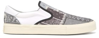 Amiri Bandana-print Slip-on Cotton-canvas Trainers - Mens - Grey Multi