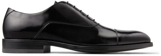 Jimmy Choo FALCON Black Brush-Off Leather Oxford Shoes with Crystals