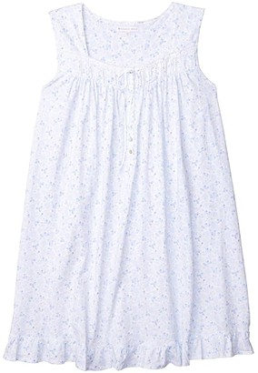 Eileen West Plus Size Cotton Jersey Knit Sleeveless Short Nightgown (White Ground Peri Floral Multi) Women's Clothing