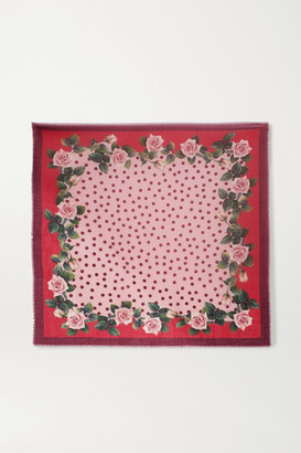Dolce & Gabbana Fringed Printed Cashmere And Silk-blend Scarf - Pink