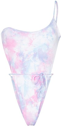 Frankie's Bikinis Evangeline one-shoulder tie-dye swimsuit