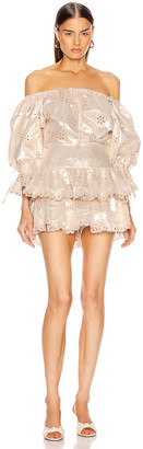 Alice McCall Electric Galaxy Playsuit in Gold   FWRD
