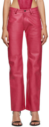 Mowalola Pink Leather Suit Trousers