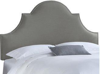 One Kings Lane Hedren Headboard - Gray Linen - upholstery, linen gray; nailheads, silver