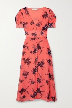 MICHAEL Michael Kors Floral-print Crepe Midi Dress - Orange