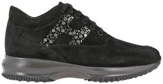 Hogan Interactive Sneakers In Suede With Flower-shaped Micro Studs