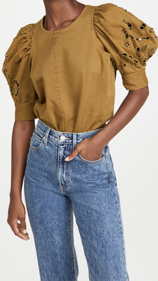 Sea Rue Embroidered Denim Short Sleeve Top