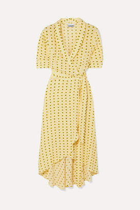 Ganni Floral-print Crepe De Chine Wrap Midi Dress - Pastel yellow
