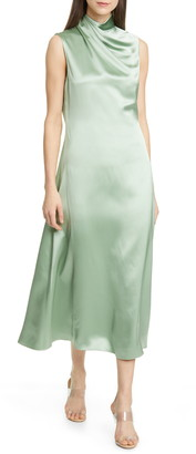 Brandon Maxwell Drape Neck Silk Tea Length Dress