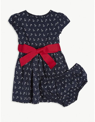 Ralph Lauren Anchor print cotton dress and knickers set 3-24 months