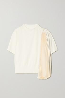 Sacai Asymmetric Paneled Plisse-chiffon And Cotton Top - White