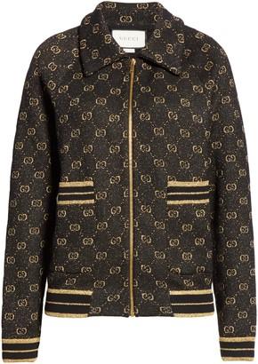 Gucci GG Metallic Jacquard Wool Blend Bomber Jacket