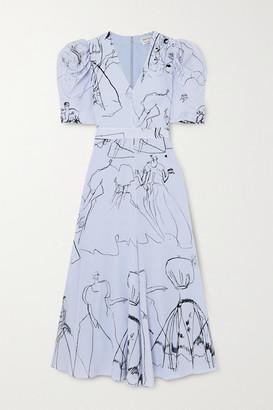 Alexander McQueen Gathered Printed Silk Crepe De Chine Midi Dress - Blue