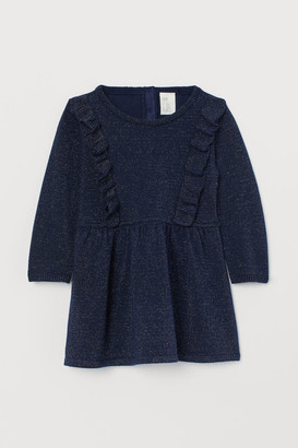 H&M Ruffled Jacquard-knit Dress - Blue