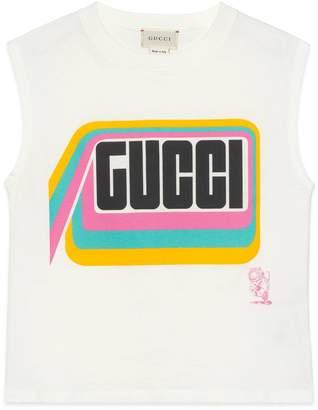 Gucci Children's tiger print cotton tank top