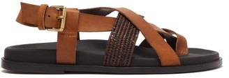 Casablanca 1942 - Brutus Raffia And Leather Cross-strap Sandals - Mens - Brown