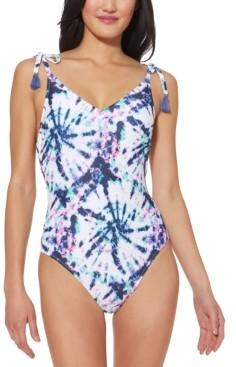 Jessica Simpson Tie-Dyed Tie-Shoulder One-Piece Swimsuit Women's Swimsuit