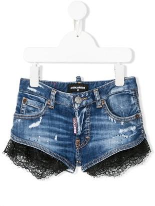 DSQUARED2 Lace Trim Denim Shorts
