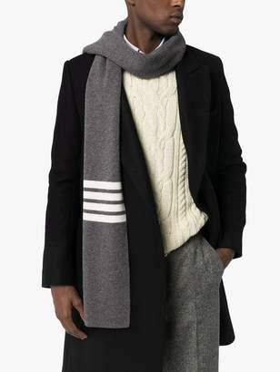 Thom Browne 4-bar stripe cashmere scarf grey