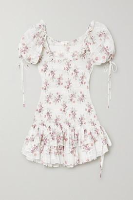 LoveShackFancy Aerin Violet Floral-print Shirred Cotton-voile Mini Dress - White