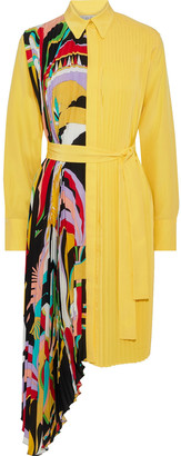 Emilio Pucci Pleated Printed Silk Crepe De Chine Shirt Dress
