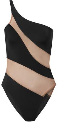 Norma Kamali Mio One-shoulder Mesh-paneled Swimsuit - Black