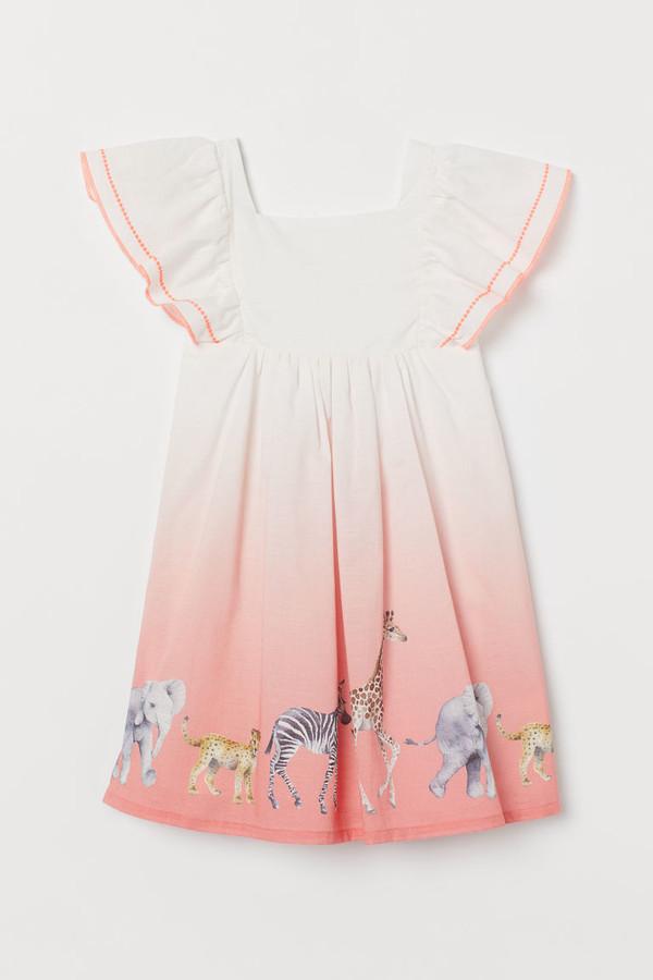 H&M Flutter-sleeved Dress - White