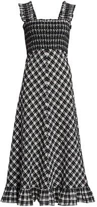 Ganni Seersucker Checked Maxi Dress