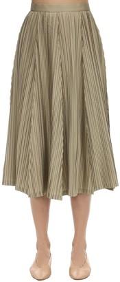 Salvatore Ferragamo Plisse Silk Blend Taffeta Skirt