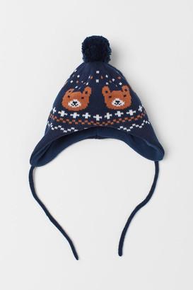 H&M Jacquard-knit Hat - Blue
