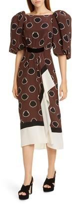 Johanna Ortiz Full Sleeve Silk Crepe de Chine Midi Dress