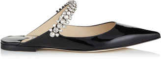 Jimmy Choo BING FLAT Black Patent Leather Mules with Crystal Strap