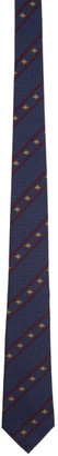 Gucci Navy Silk Bee Web Tie