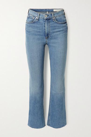 Rag & Bone Nina Cropped High-rise Flared Jeans - Light blue