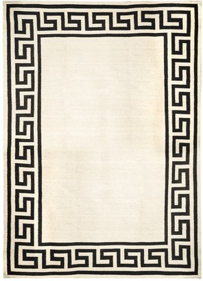Jonathan Adler Black Greek Key Border Reversible Peruvian Flat Weave Rug