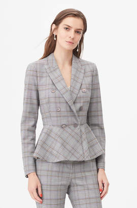 Rebecca Taylor Tailored Plaid Suiting Peplum Jacket