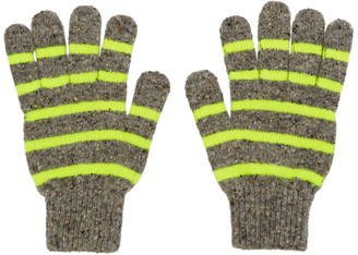 Paul Smith Grey and Yellow Striped Gloves