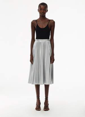 Tibi Metallic Nylon Pleated Skirt