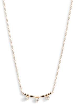 Chicco Zoe Three-Diamond Curved Bar Necklace